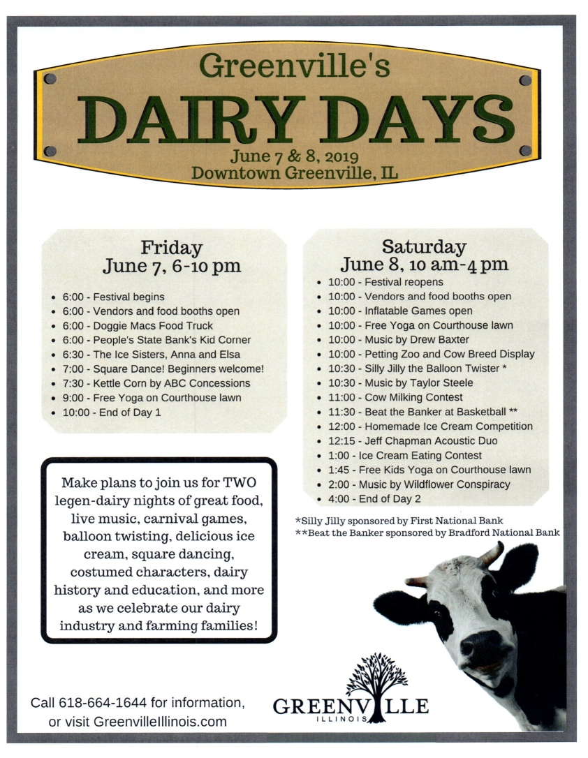 Dairy Days 2 day schedule - Fun for the Family in Downtown Greenville