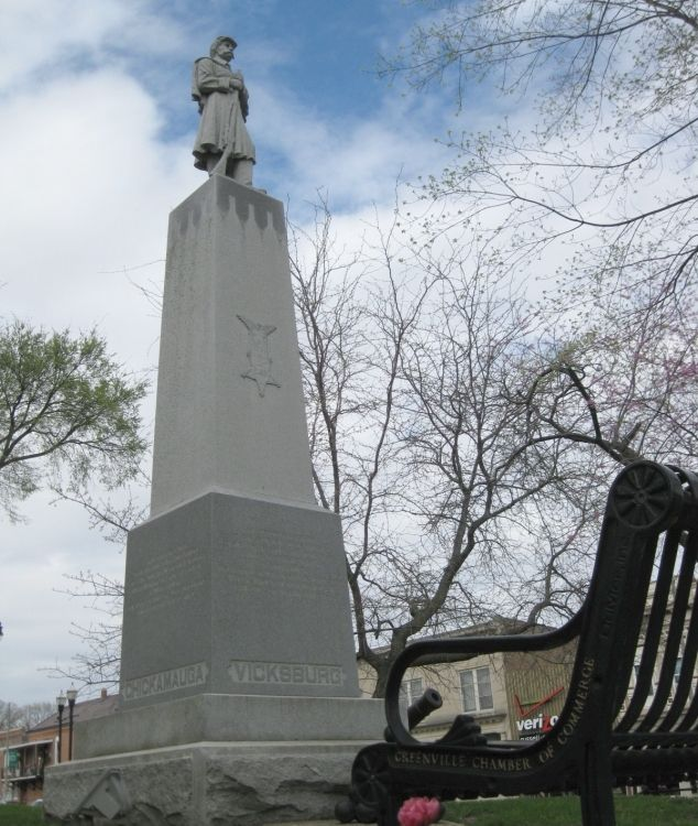 Bond County Soldier's Monument with Chamber sponsored bench