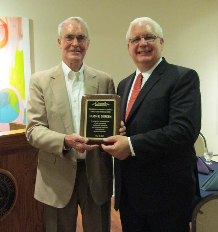 Dr. Hugh Siefken with Greenville Chamber of Commerce President Michael Diaz.