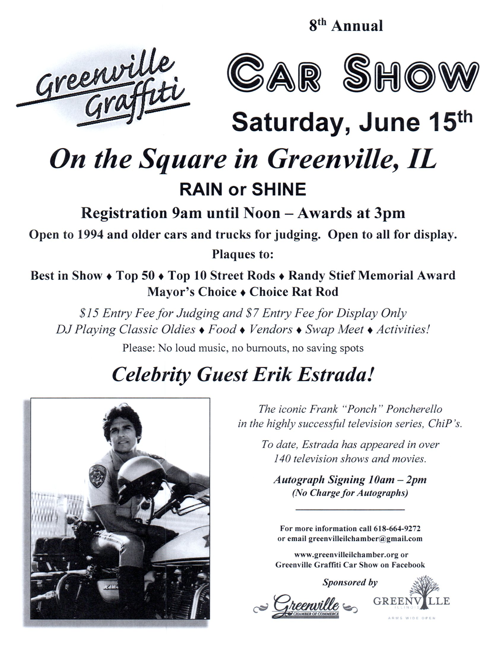 Greenville Graffiti Car Show with appearance by Erik Estrada - Event Flyer